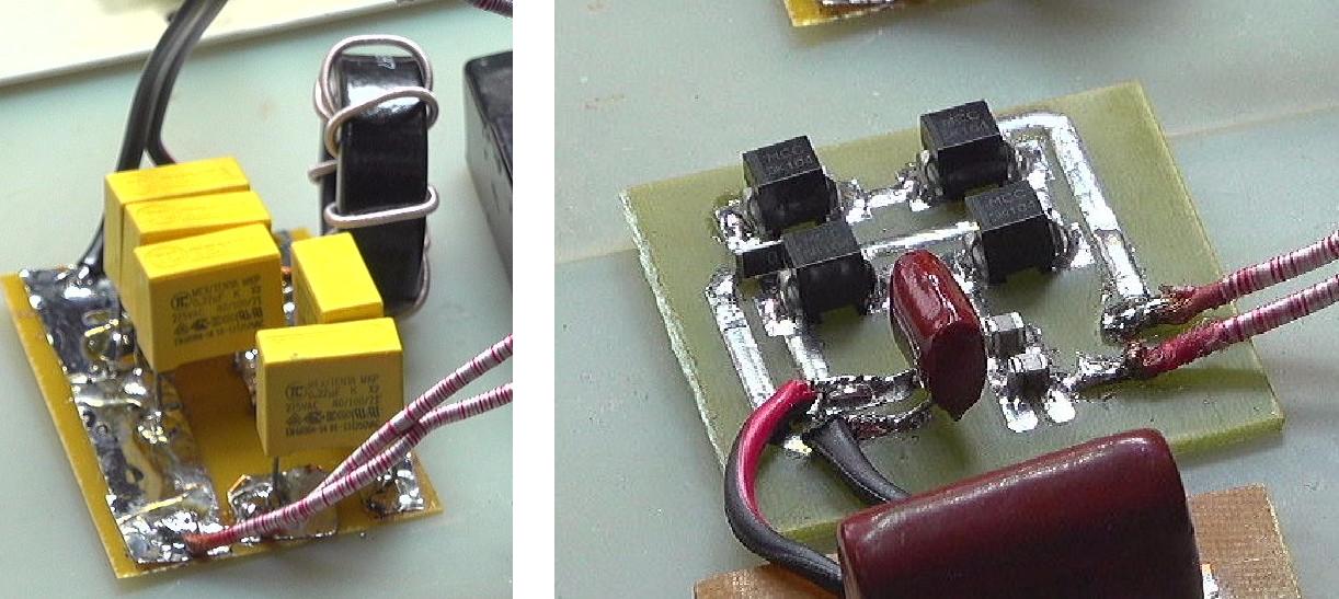 ▲ 发送线圈的LCC补偿网络(左)接收线圈的全桥整流(右)