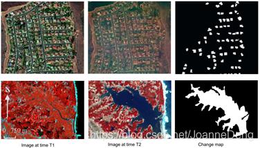 图1卫星图像中区域变化检测结果