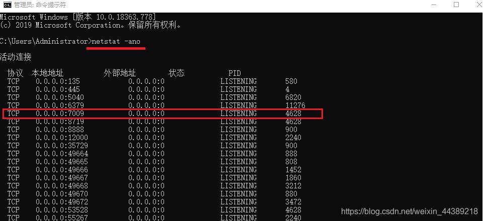 netstat -ano 显示所有运行的端口号