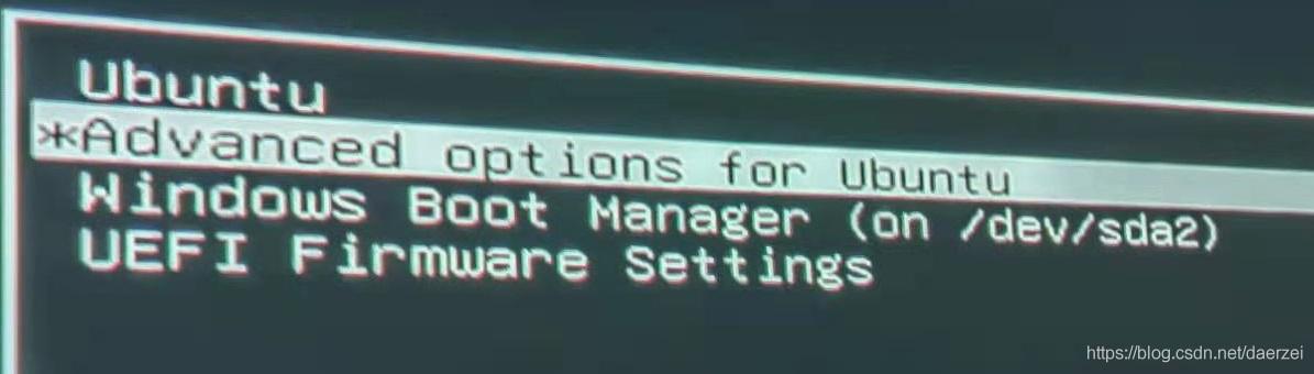 选择Advanced options for Ubuntu