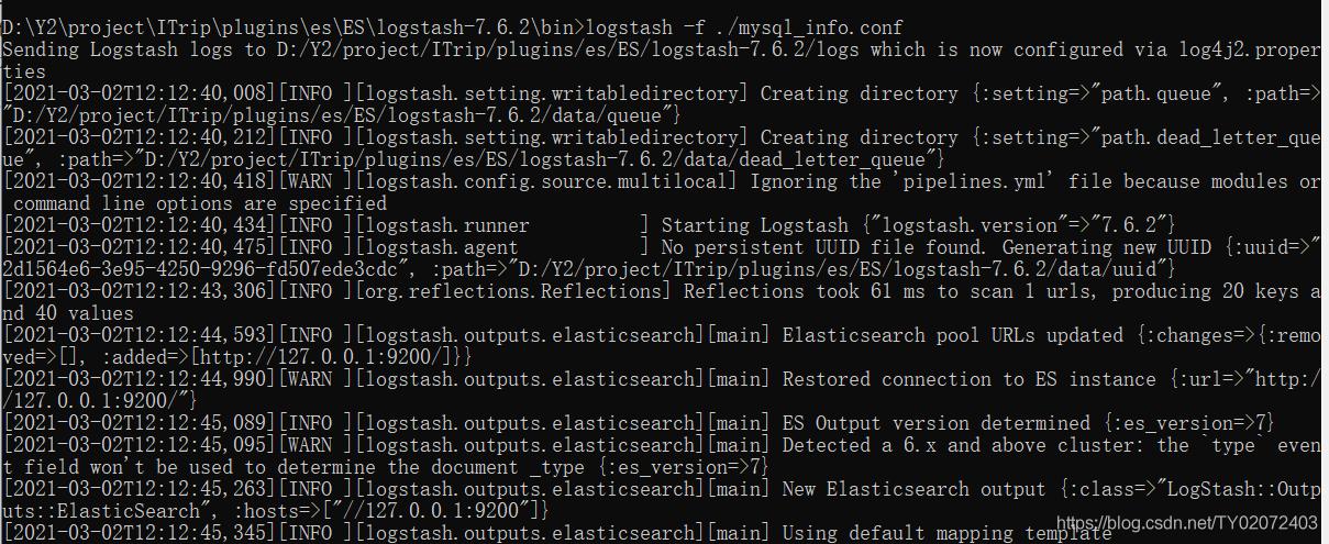 在将logstash路径改为英文以后,再次执行logstash -f ./mysql_info.conf,就成功同步了