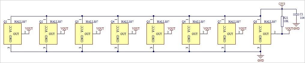 ▲ 灯盘上霍尔器件的并联接口电路
