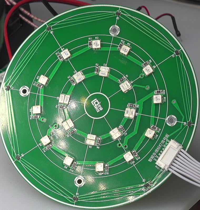 ▲ 信标灯的灯盘,上面配置有红色LED,红外LED,HALL传感器