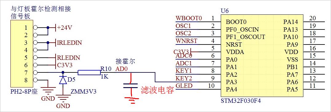 ▲ 将HALL信号引入U6:PA3