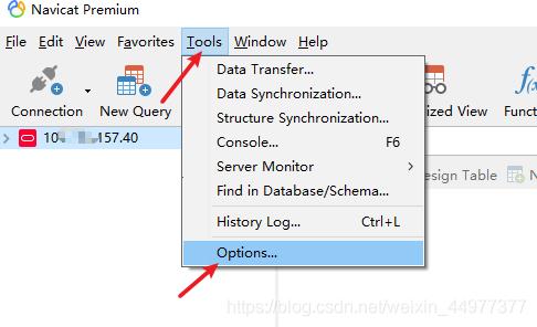 Tools->Options