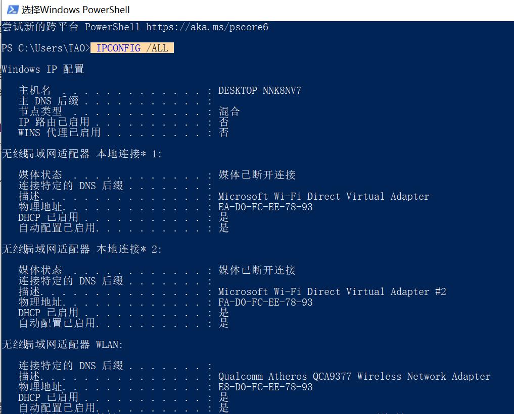Widow命令提示符里挑选觉得稳定不会变化的MAC地址