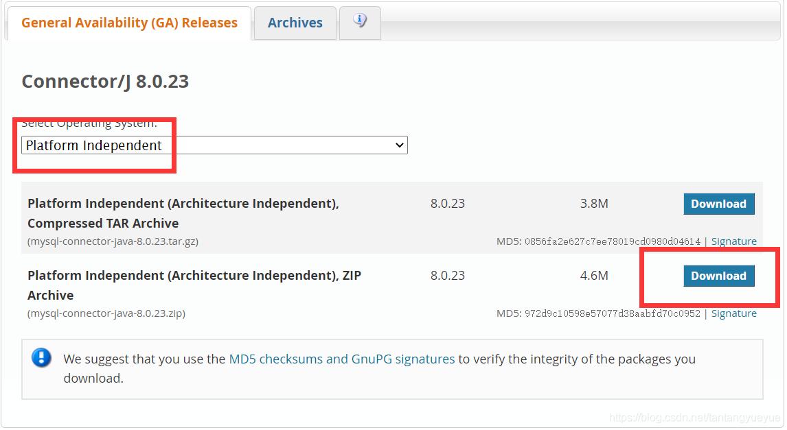 如果是需要8.0.23版本的,在下载界面选择platfrom independent,然后下载第二个