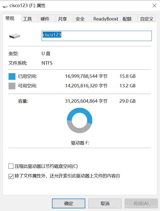 我的U盘之前已经改成NTFS格式了,所以这里显示NTFS格式
