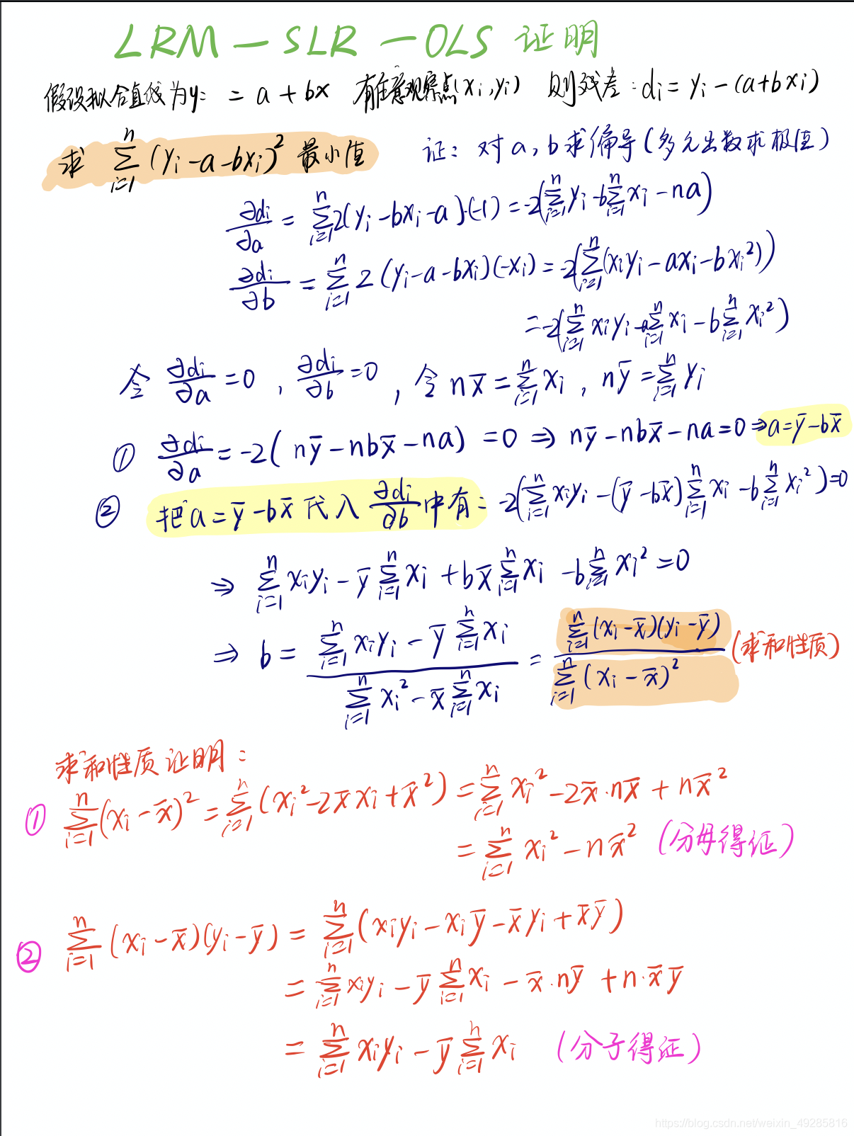 样本点平均值会经过线性回归直线在这里插入图片描述