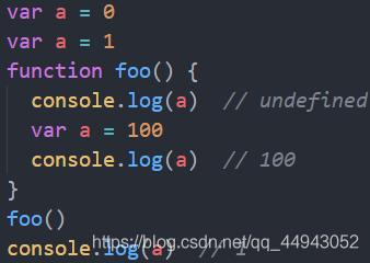 前两行代码重复声明了a变量,最终全局a的值为1。而在foo函数中的第二行我们又声明了a变量,注意此时的a在foo函数作用域,var a = 100这行代码在编译时,会将var a 放在函数内部的第一行,此时a只是声明了,未初始化,所以第一个console.log(a)打印undefined,然后执行a=100,第二个打印100,第三个打印全局a,10