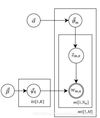 LDA模型结构示意图