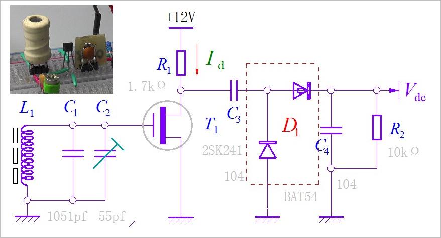 ▲ 单管150kHz导航信号放大检波电路