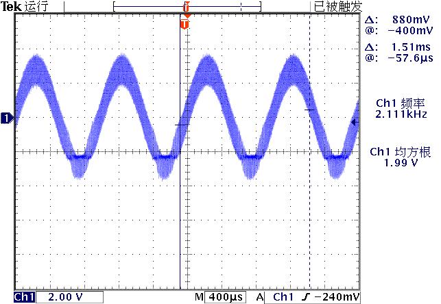 ▲ 图2-9 实验电路实际输出电压波形