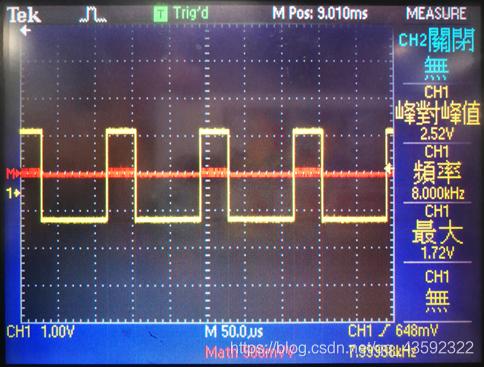 输出频率为8KHz,占空比为30%的方波的时域波形(图中黄色曲线)