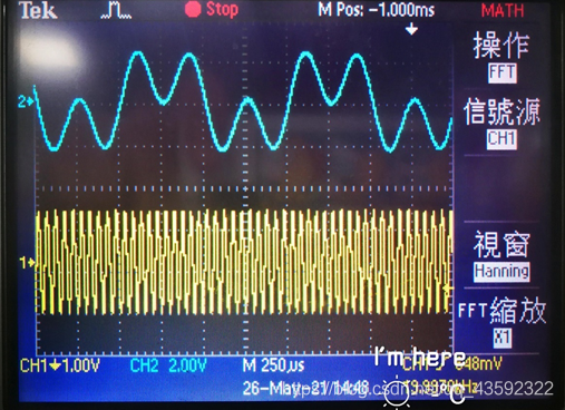 CH2蓝色曲线为MUSIC端口输出的时域波形;CH1黄色曲线为A-out端口输出的时域波形,为等幅的FM信号