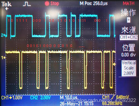 蓝色曲线为输入数据,黄色曲线为基带码元的偶数位的变换波形,红字为对应码字