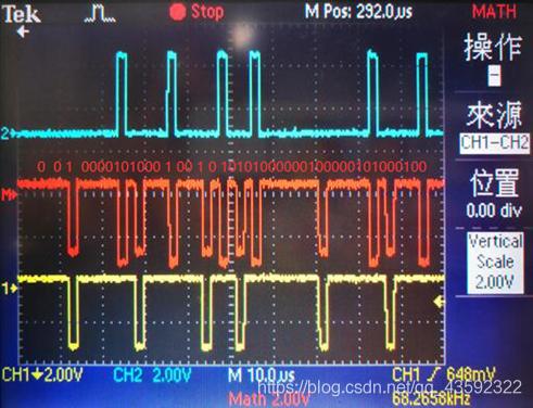 CH2通道蓝色曲线为HDB3-A1,CH1通道黄色曲线为HDB3-B1,红色曲线为B1-A1,所求A1-B1即为红色曲线反相得到的波形
