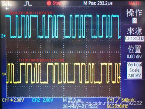 CH2通道蓝色曲线为编码输入的数据波形,CH1通道黄色为译码输出的数据波形