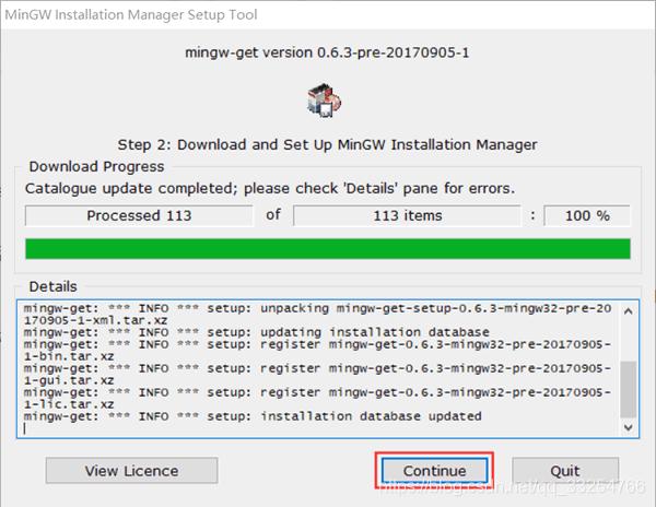 图 4 下载并安装 MinGW 配置器