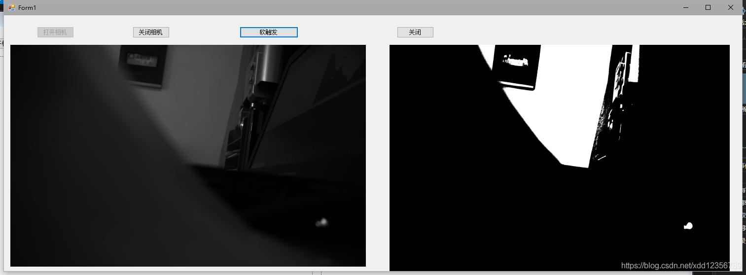 左边是采集的图像,右边是二值化处理