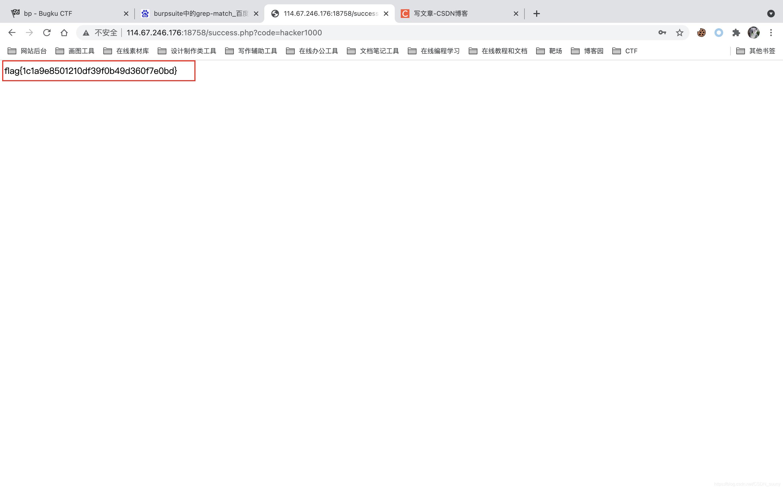 BugKu web题目(bp)弱密码top1000