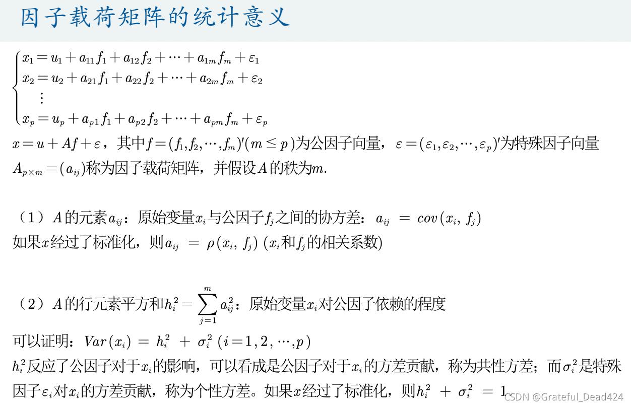 数模学习笔记——因子分析模型
