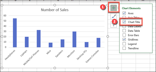 """Tap the green, plus icon (""""Chart Elements"""") next to your Excel chart, then press the """"Chart Title"""" checkbox to add or remove the chart title."""