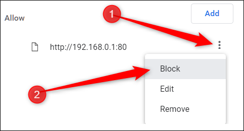 Next to the website you want to block, click More, then click Block