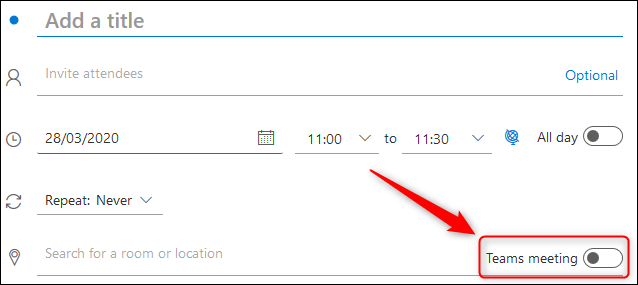 """The """"Teams meeting"""" toggle switch in an Outlook Online meeting request."""