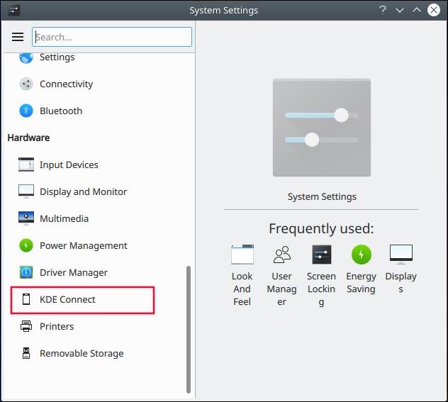 KDE System Settings dialog