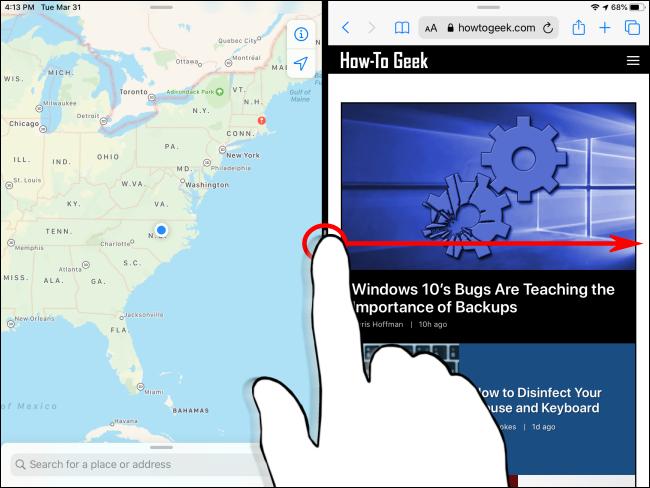 Dismissing Split View on iPad Step 1