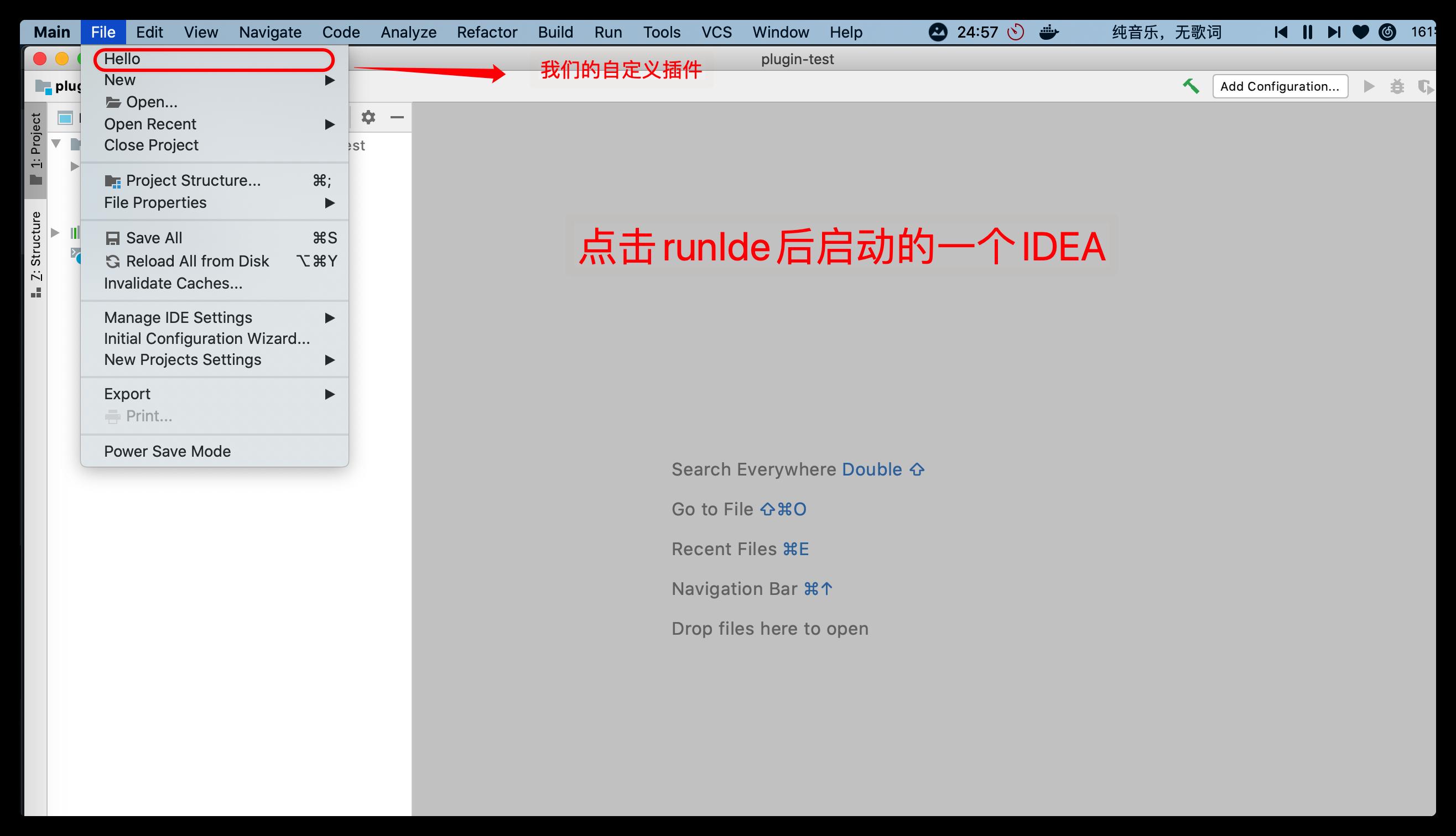 點擊 runIde 就會啟動一個默認了這個插件的 IDEA
