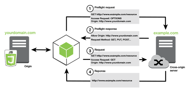 Process flow for CORS requests