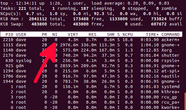 top running in a terminal
