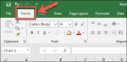 "The ""Home"" tab on the Excel ribbon bar, with various text formatting options available"