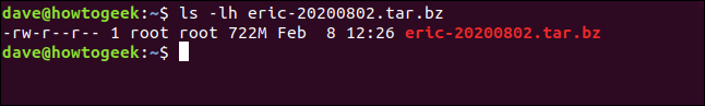 sudo tar cfjv eric-20200820.tar.bz /home/eric in a terminal window