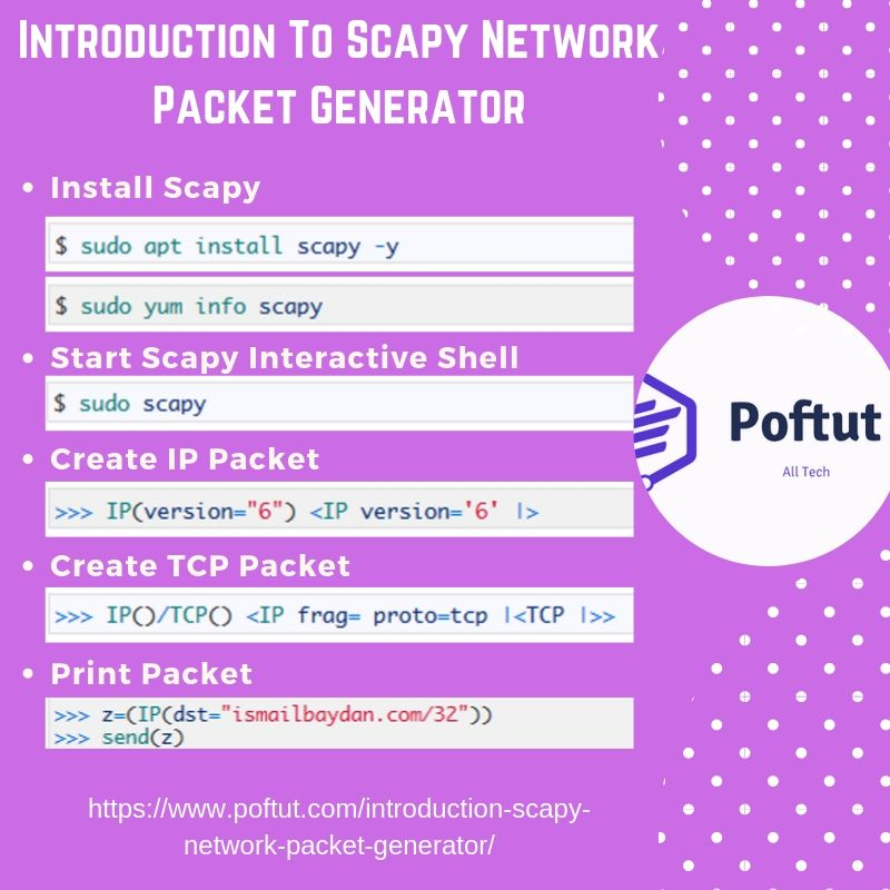 Introduction To Scapy Network Packet Generator Infographic