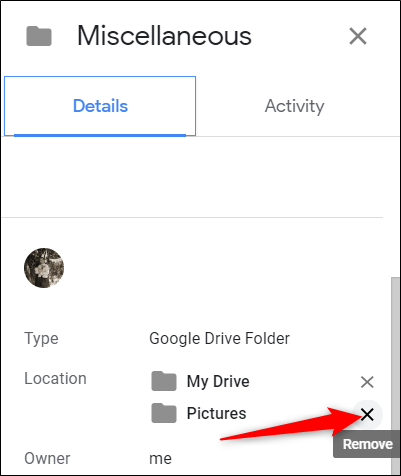 """Under """"Location,"""" click the """"X"""" next to the folder where the file is linked to."""
