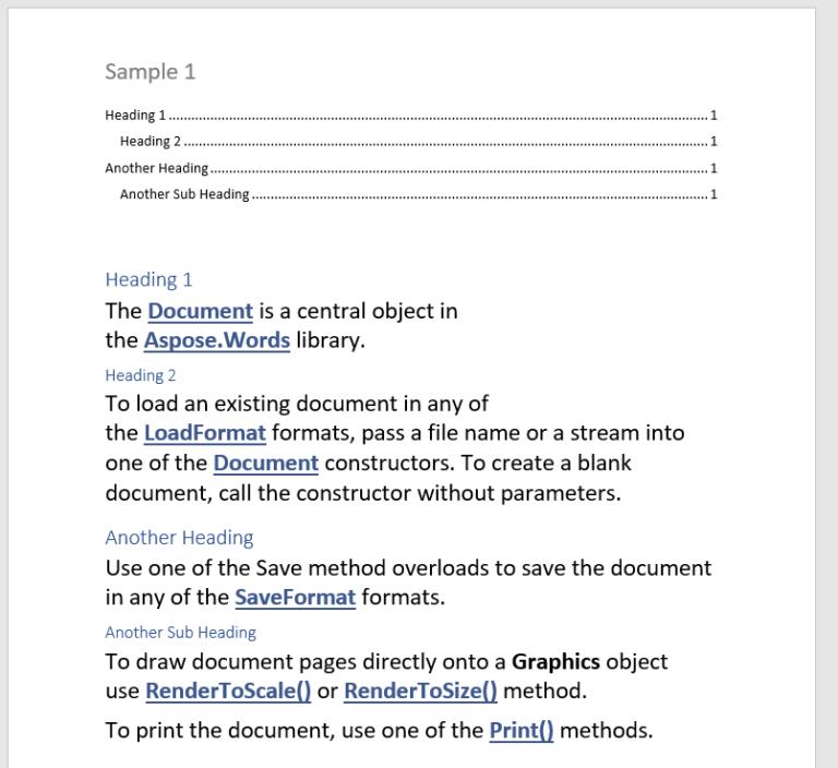 Word开发工具Aspose.Words功能演示:使用C ++在Word文档中使用目录