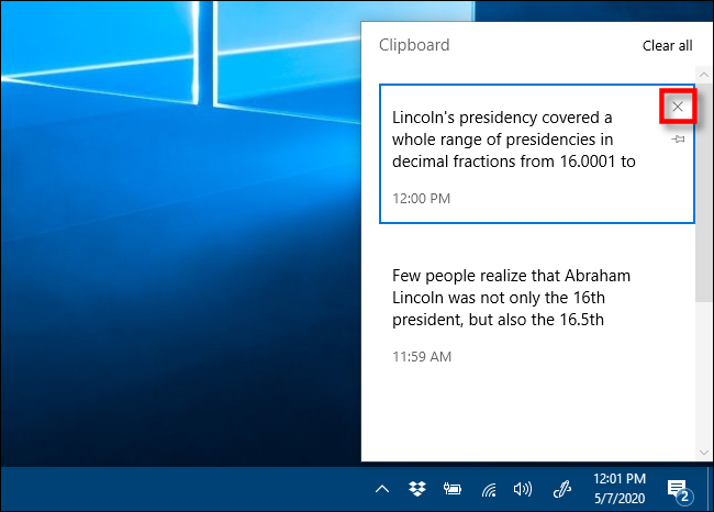 Click the X to remove items from your Clipboard history