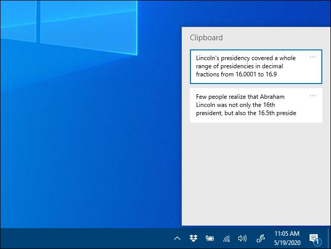 The Clipboard history pop-up window on Windows 10