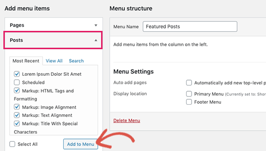 Select posts you want to feature