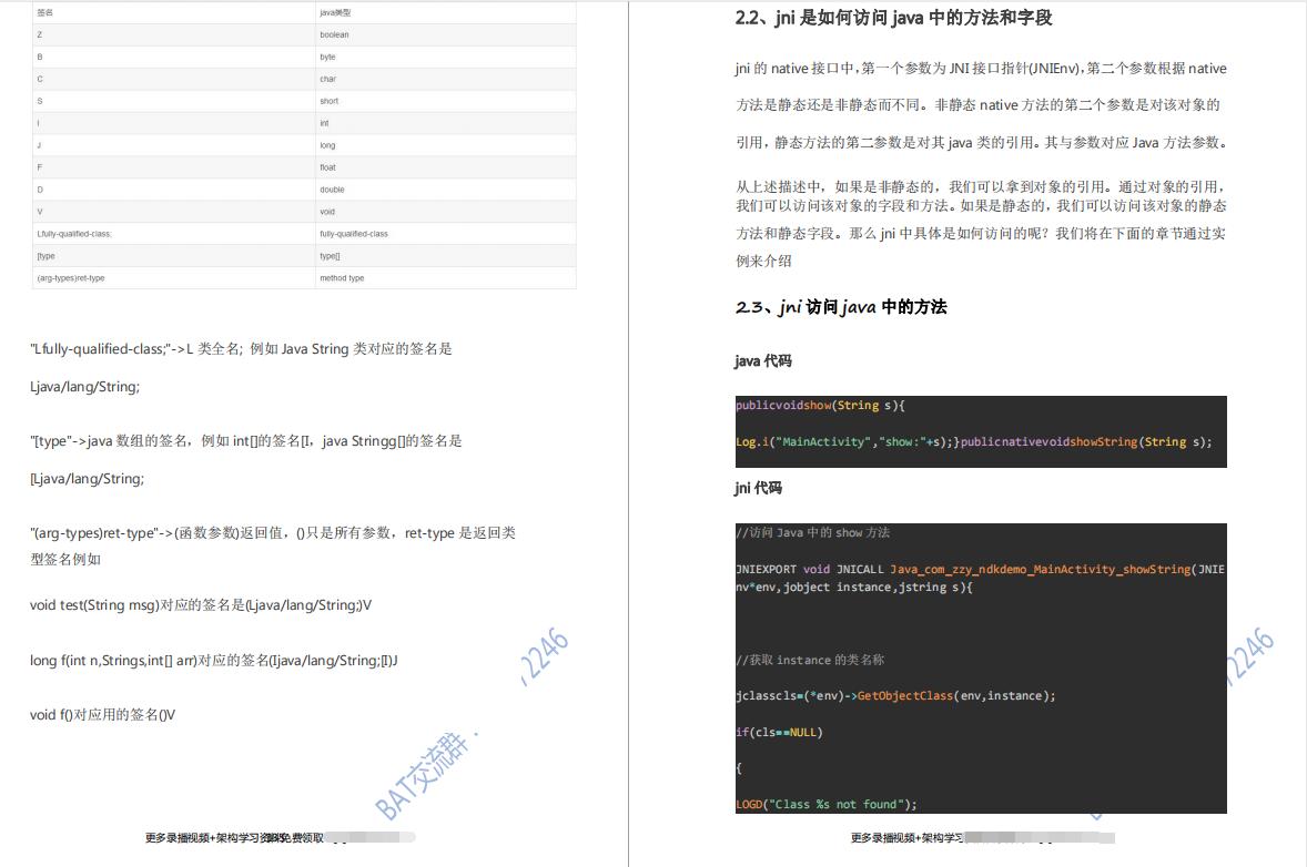 JNI模块部分资料内容截图