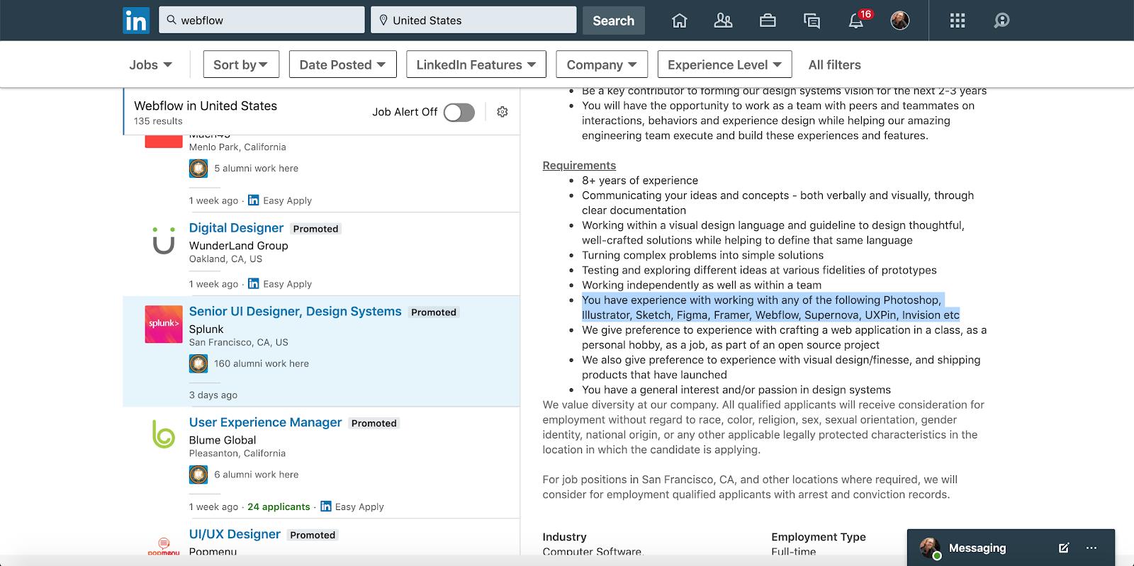 "LinkedIn job postings mentioning ""Webflow"""