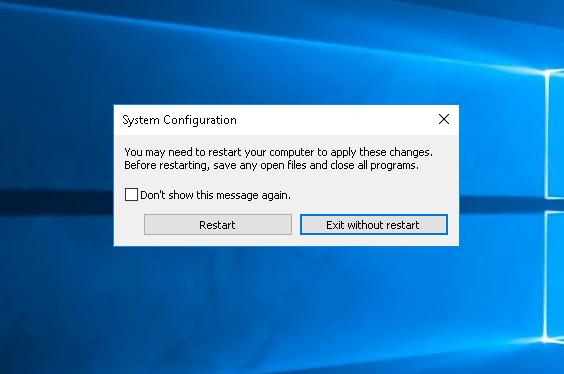 Reboot/Restart After Configuration Change
