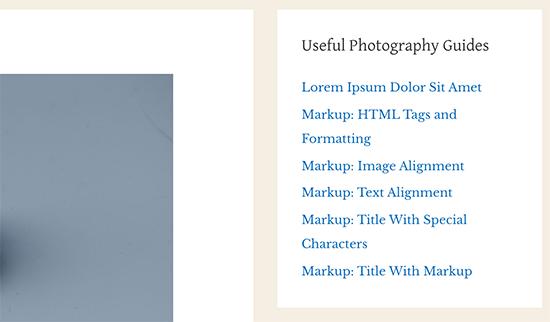 Featured posts displayed using navigation menu widget