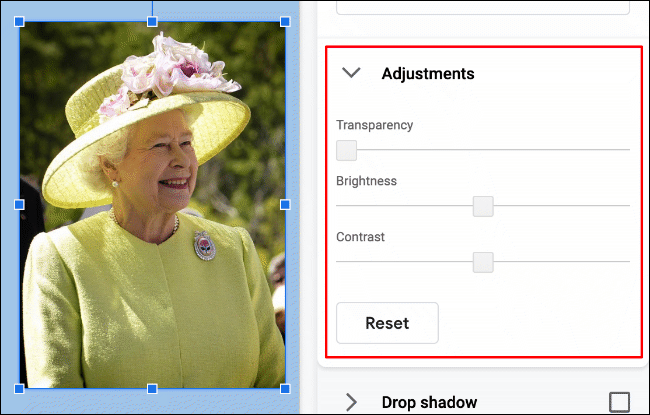 To alter the brightness, contrast or transparency of an image in Google Slides, click Format > Format Options > Adjustments