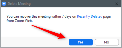 Confirm deletion of meeting