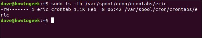 sudo ls -lh /var/spool/cron/crontabs/eric in a terminal window