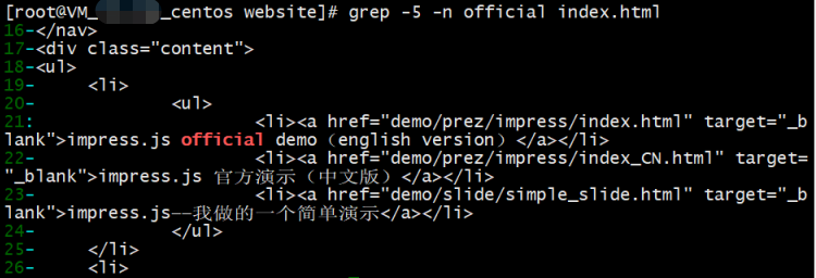 grep with context and line number demo